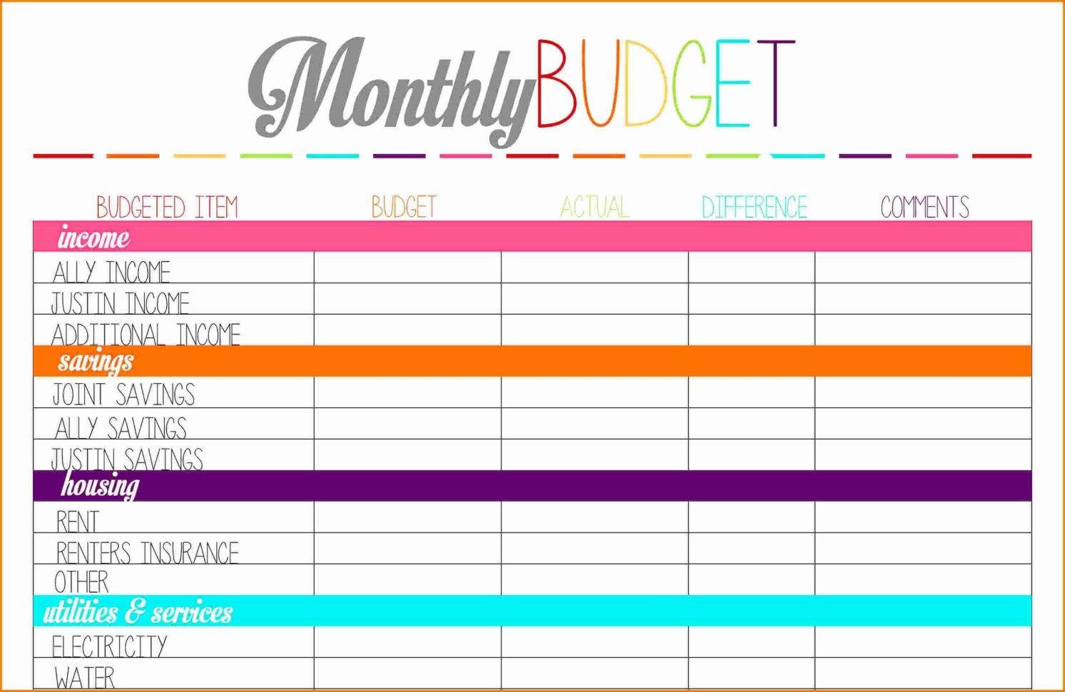 Financial Planning Spreadsheet Template With Bill Tracker