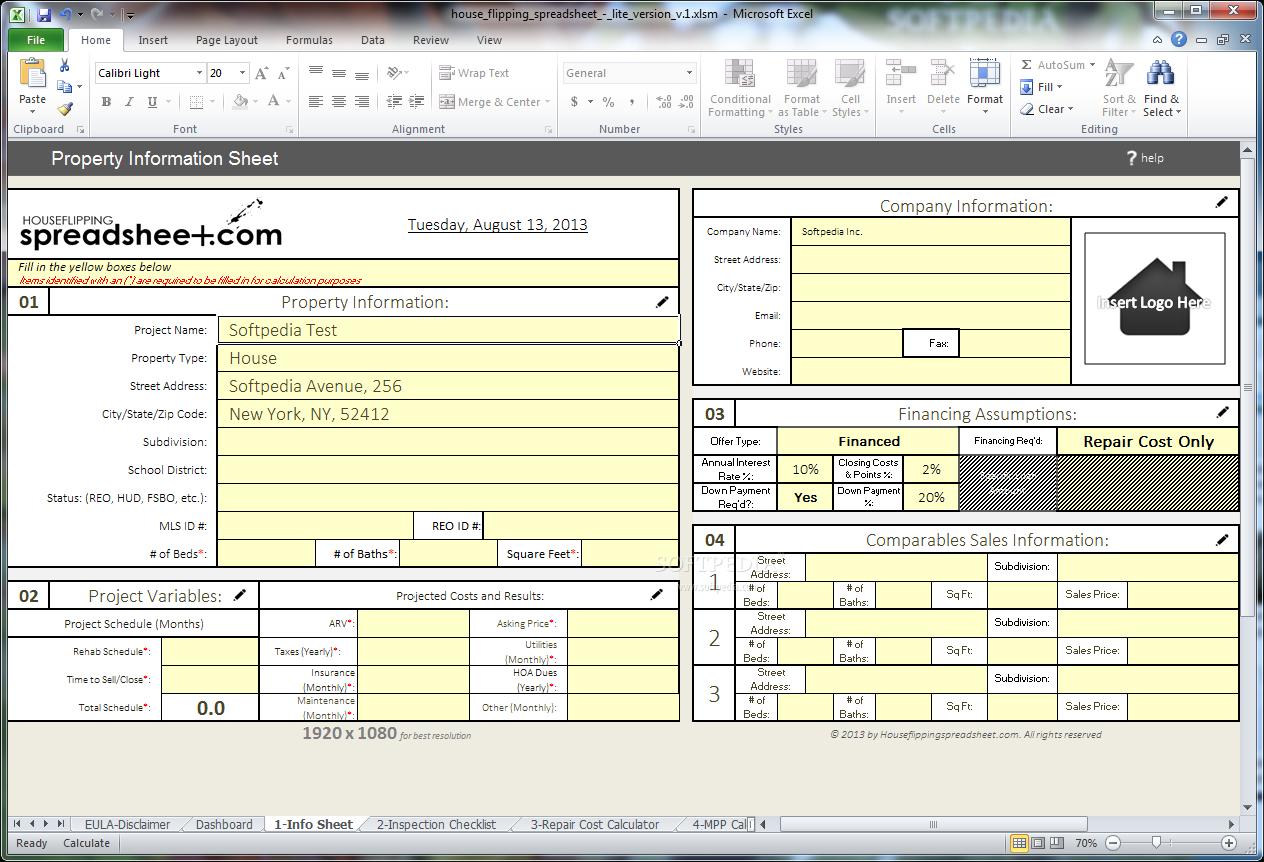 Fix And Flip Spreadsheet Spreadsheet Downloa Fix N Flip