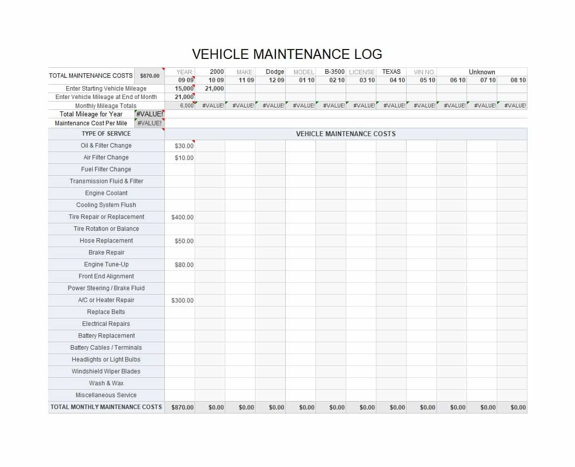 Fleet Vehicle Maintenance Spreadsheet With 40 Printable Vehicle Maintenance Log Templates