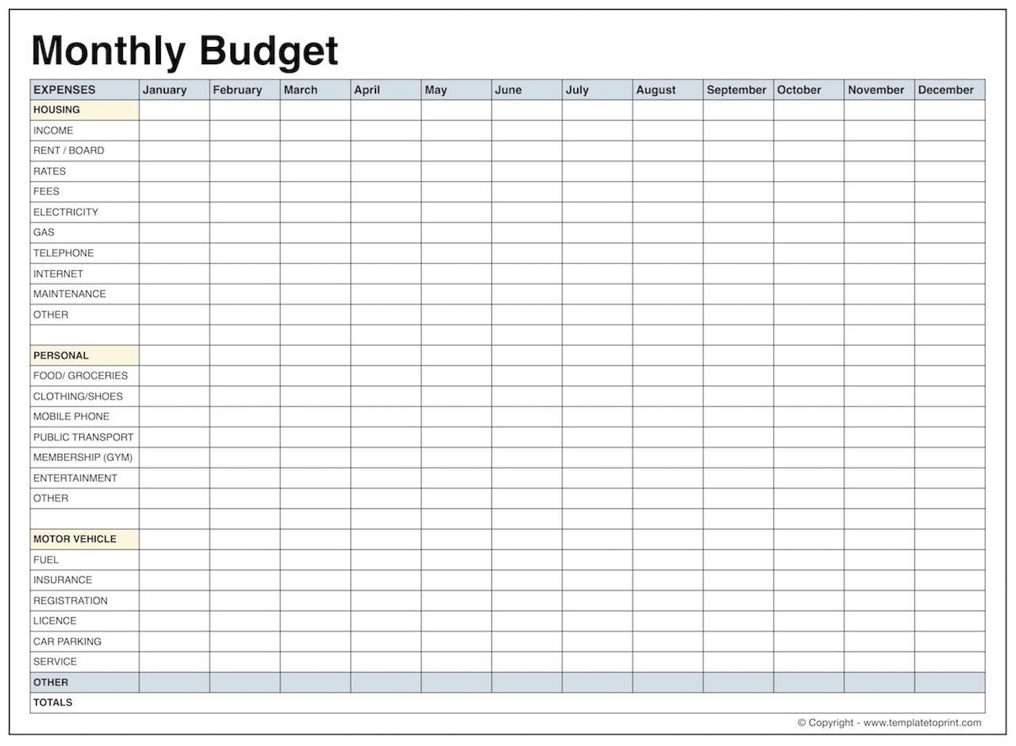 Free Family Budget Spreadsheet Download In Printable