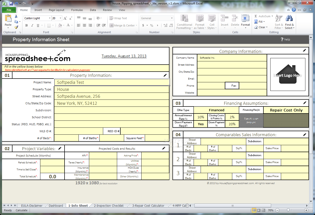 Free House Flipping Excel Spreadsheet With Regard To
