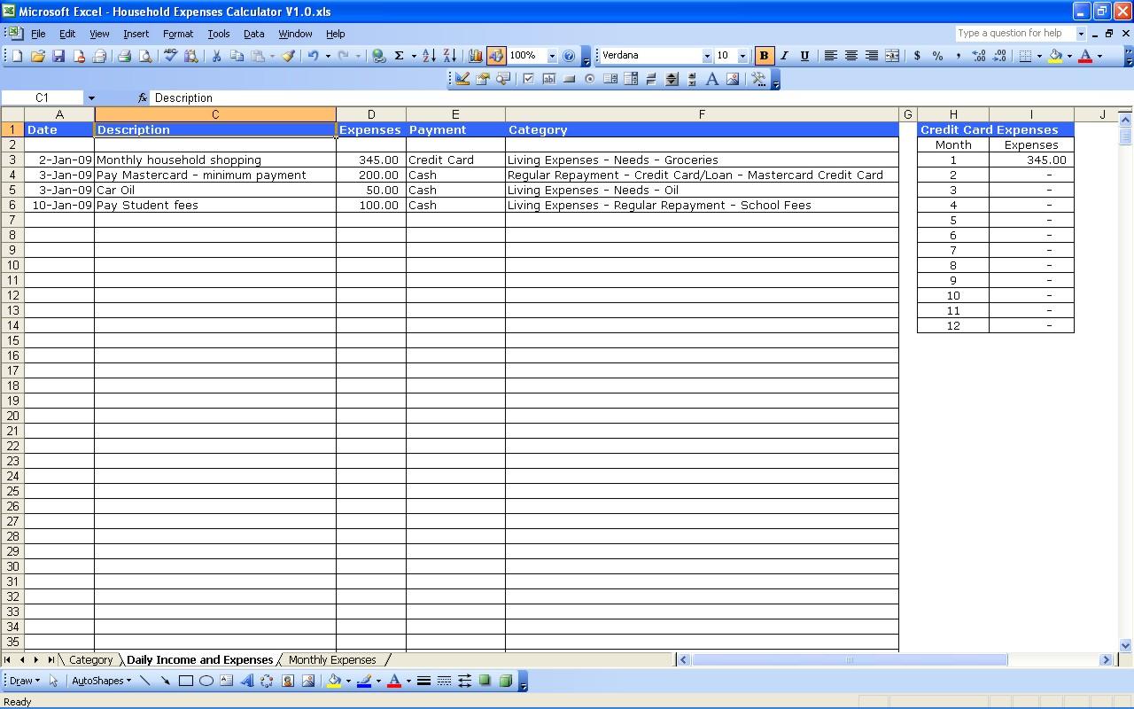 Free Income Expense Spreadsheet Spreadshee Free