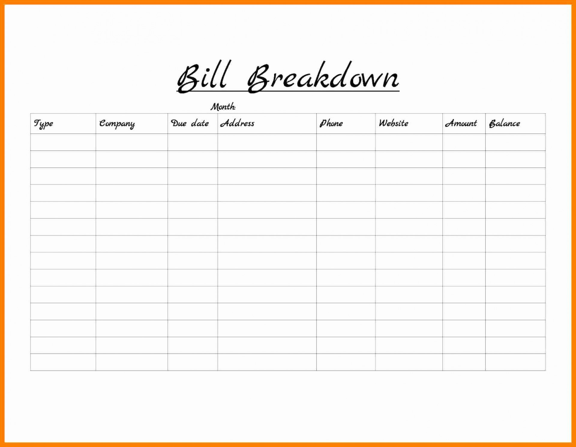 Free Monthly Bill Organizer Spreadsheet Spreadshee