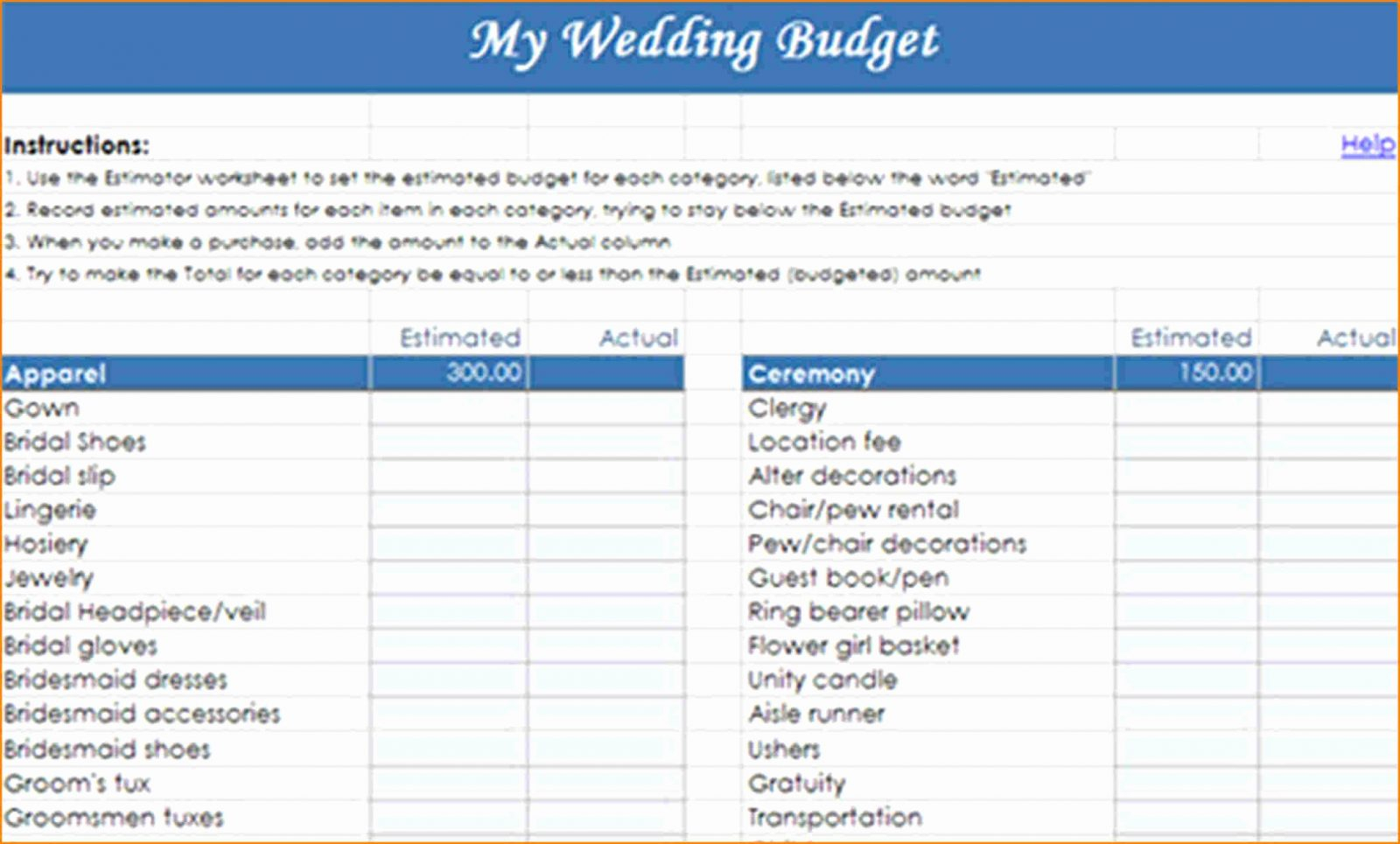Free Wedding Budget Spreadsheet Pertaining To Wedding