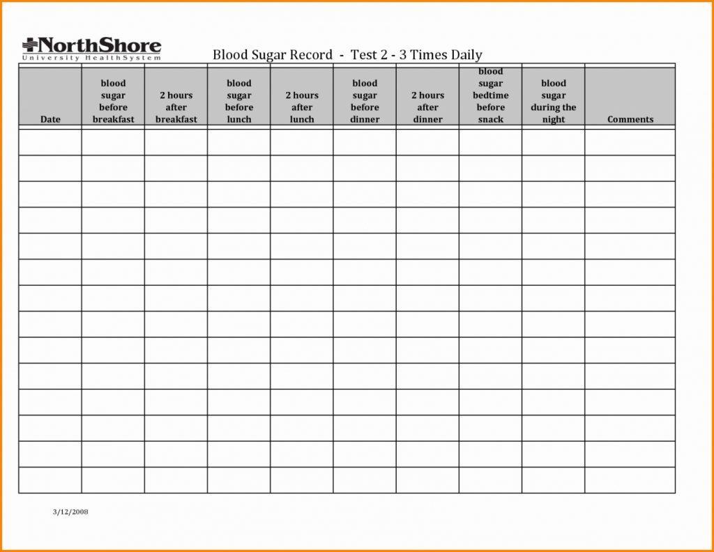 Blood Sugar Worksheet