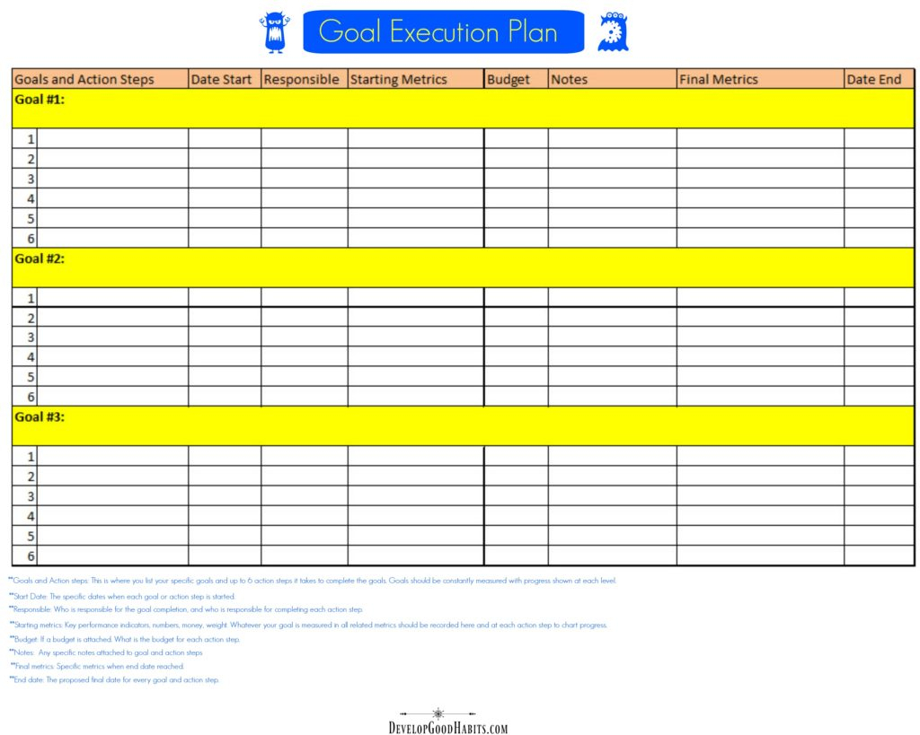 Goals Spreadsheet