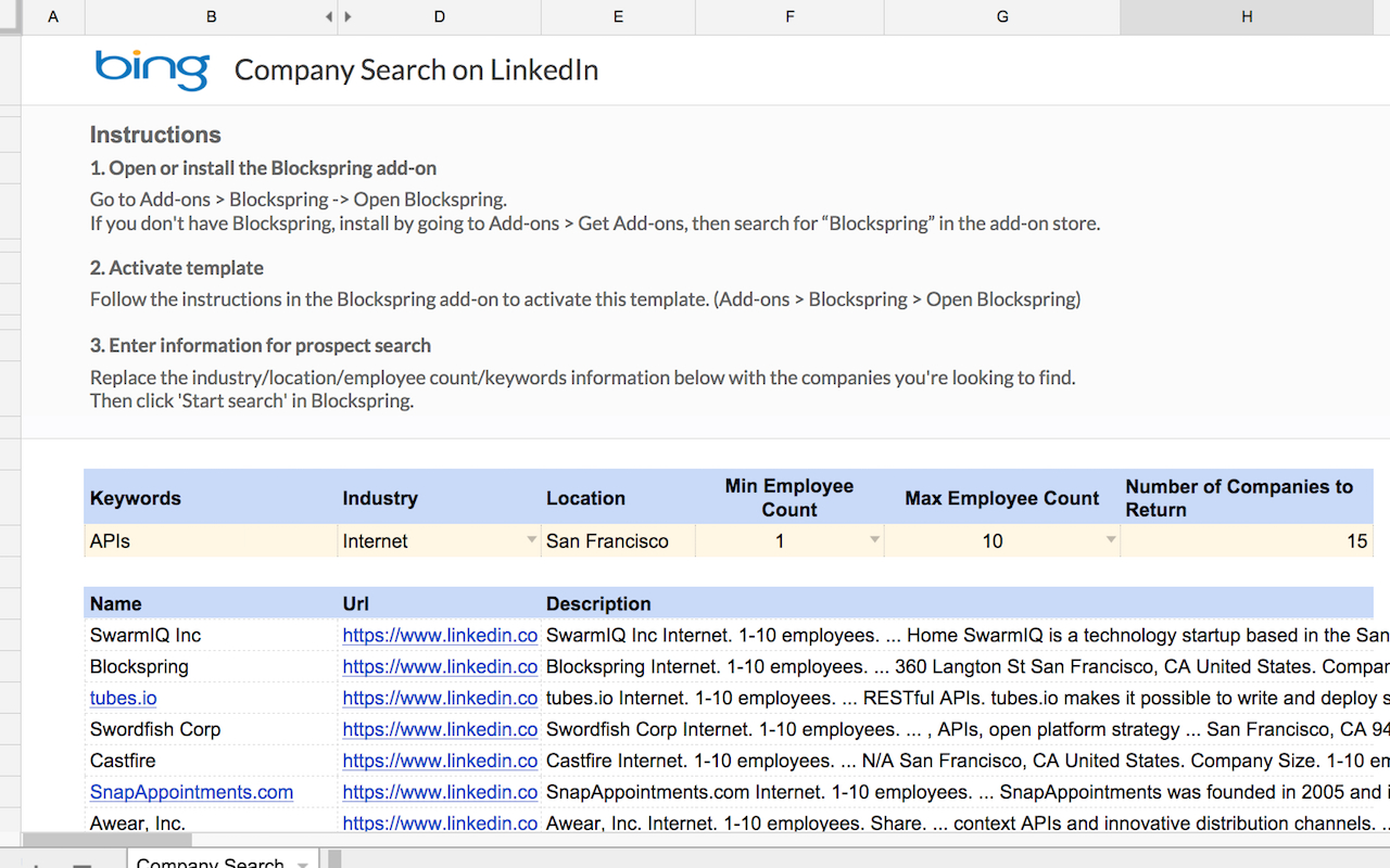 Spreadsheet Search Throughout Company Search On