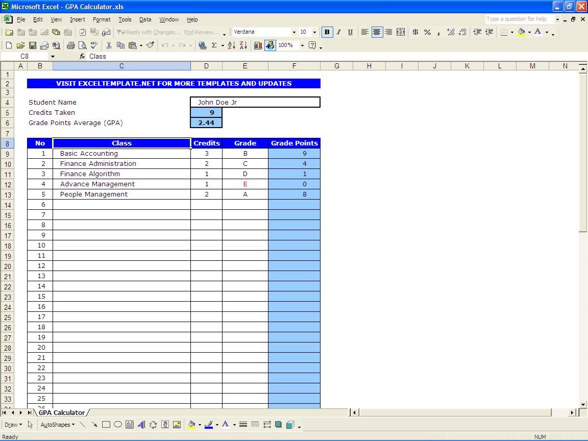 Gp Calculator Spreadsheet Throughout Gpa Calculator Excel