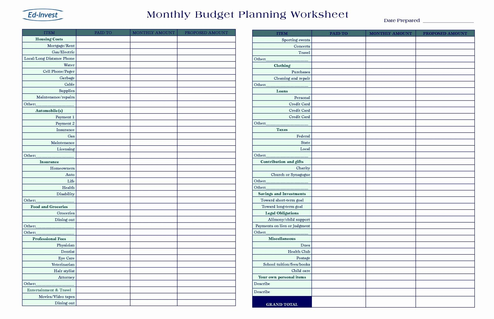 Grocery Budget Spreadsheet With Free Monthly Budget