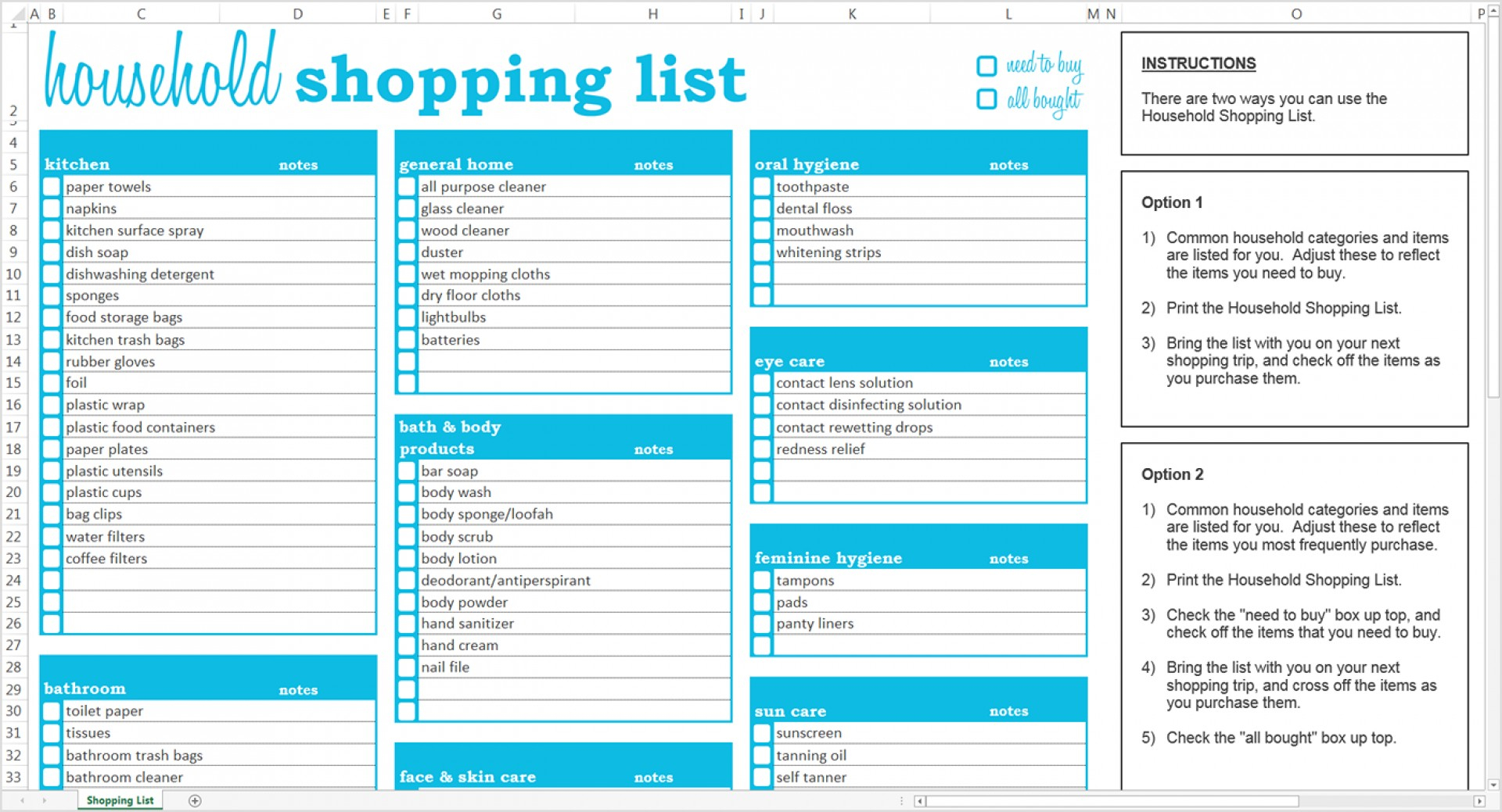 Grocery List Spreadsheet Within 007 Household Shopping
