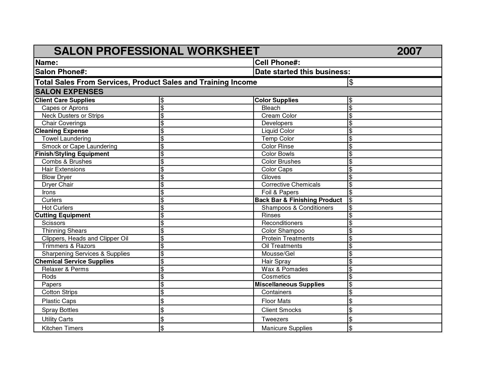 Hair Salon Expense Spreadsheet Db Excel