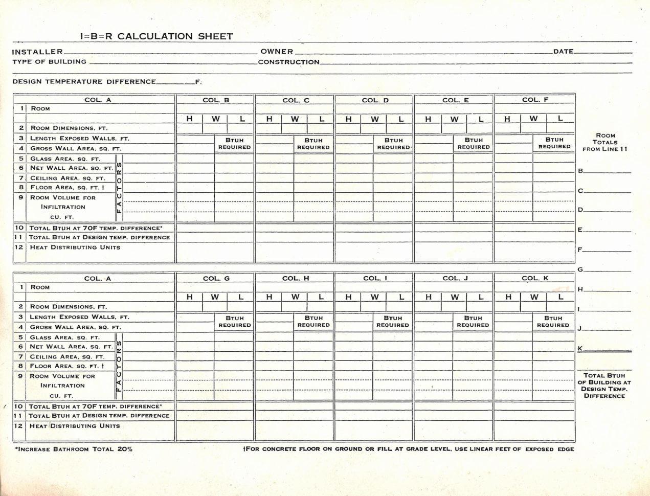 Heat Load Calculation Spreadsheet 1 Printable Spreadshee