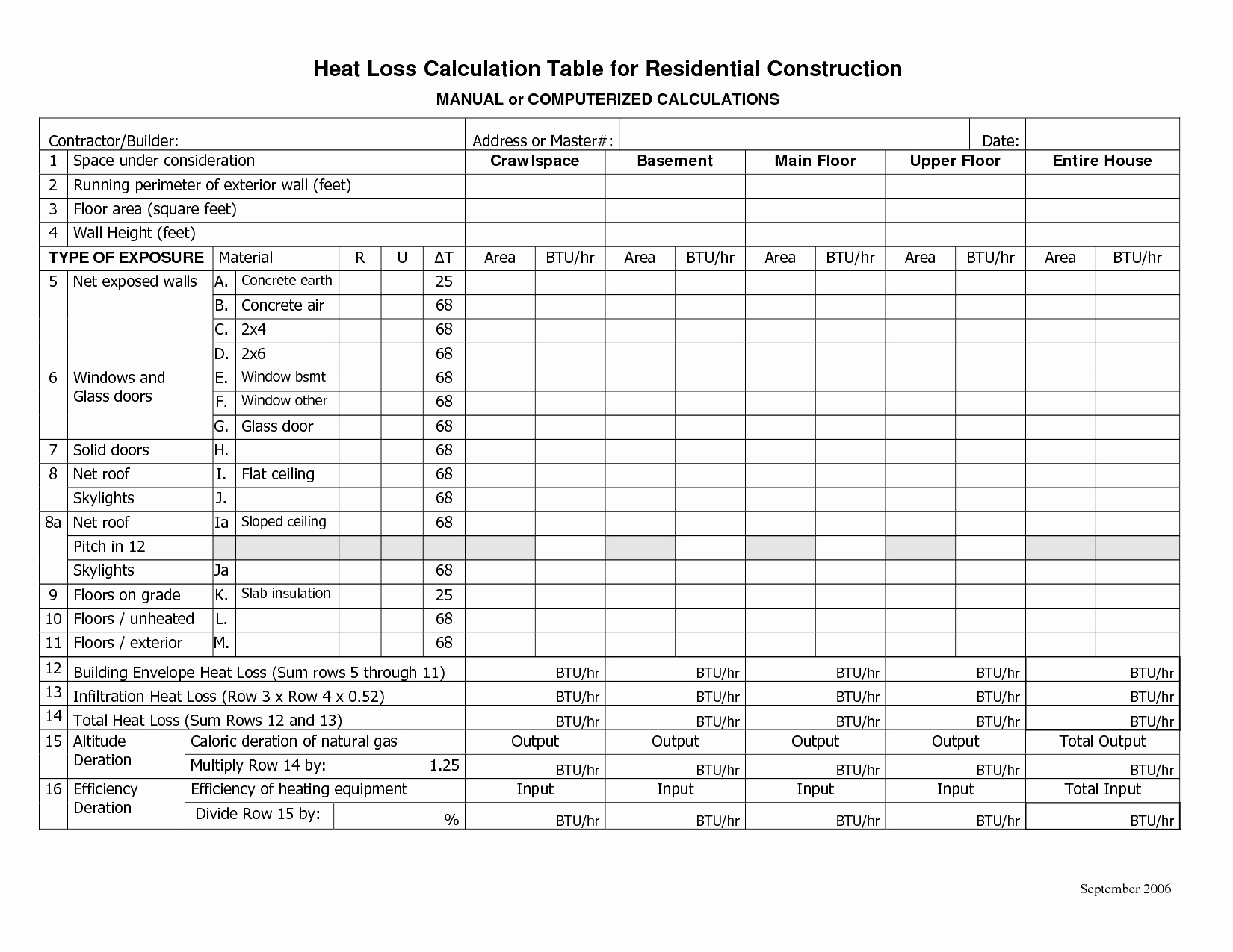 Heat Load Calculation Spreadsheet Printable Spreadshee
