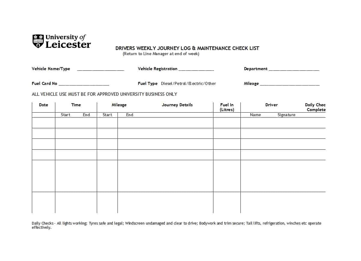 Department Maintenance Worksheet Template