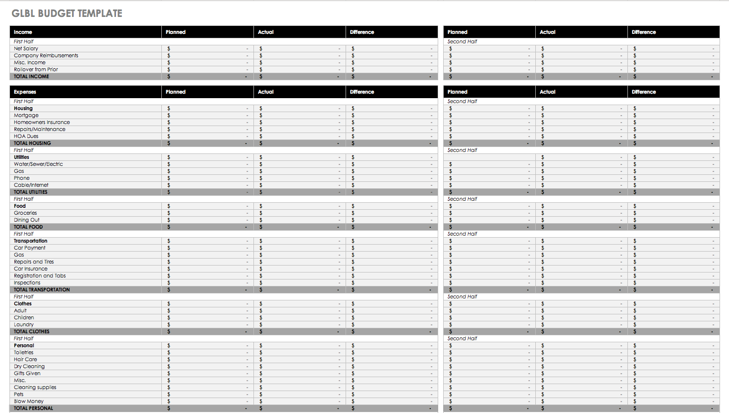 Hoa Budget Spreadsheet Throughout Free Budget Templates In