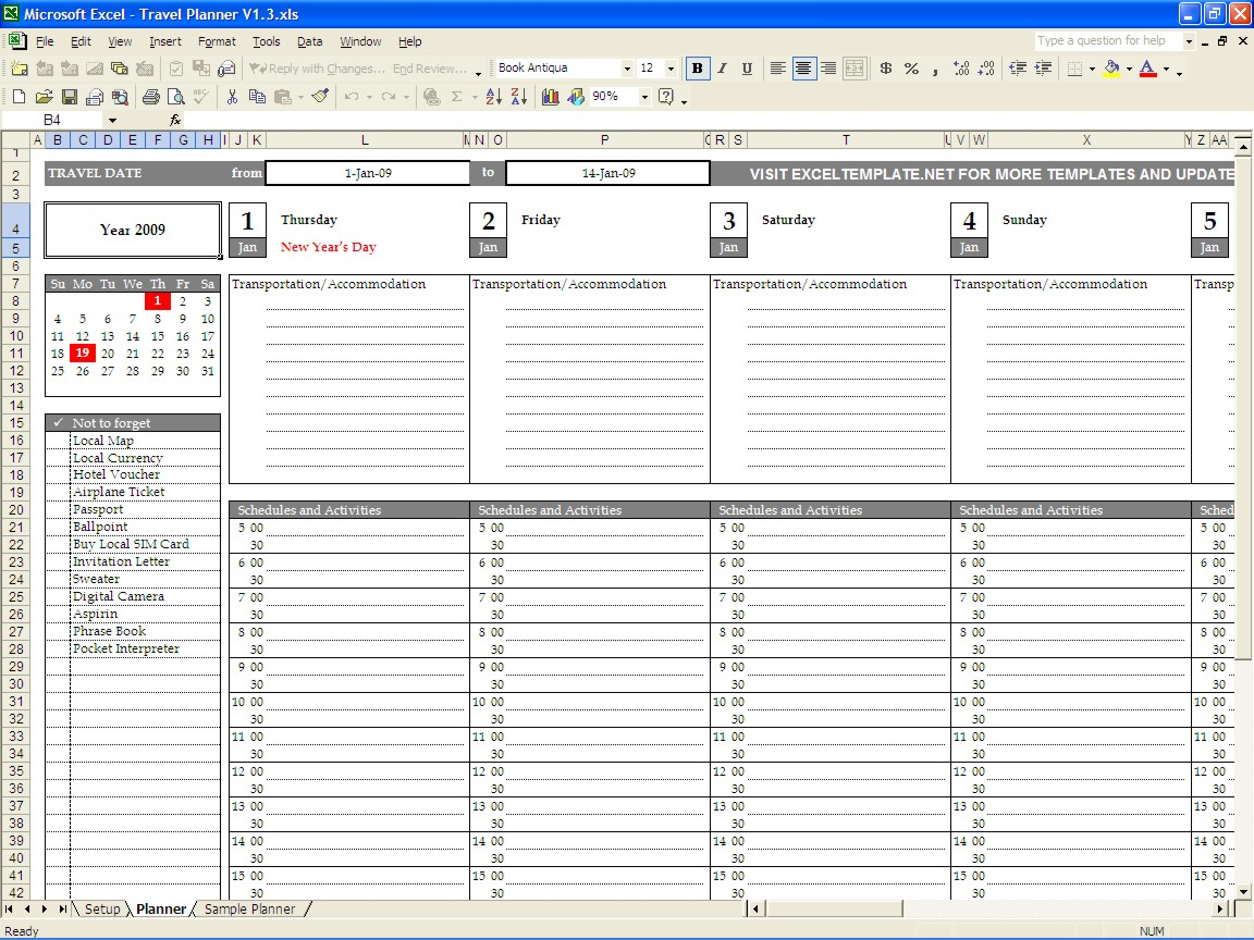 Holiday Planning Spreadsheet Spreadshee Holiday