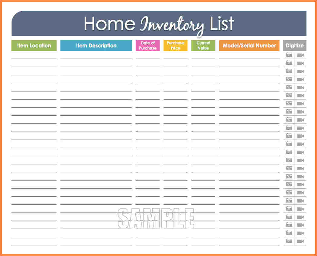 Home Inventory Spreadsheet With Household Inventory