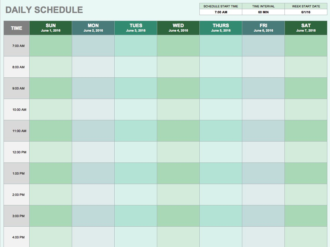 Hourly Spreadsheet For Free Daily Schedule Templates For