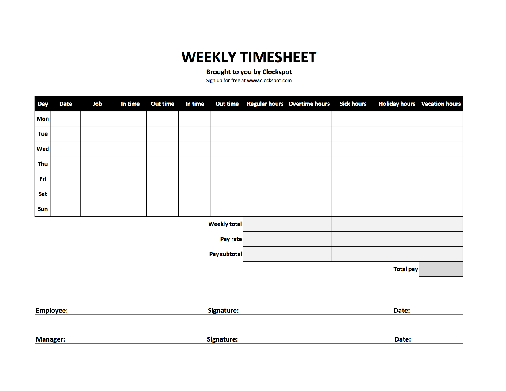 Hourly Time Tracking Spreadsheetspreadsheet Template