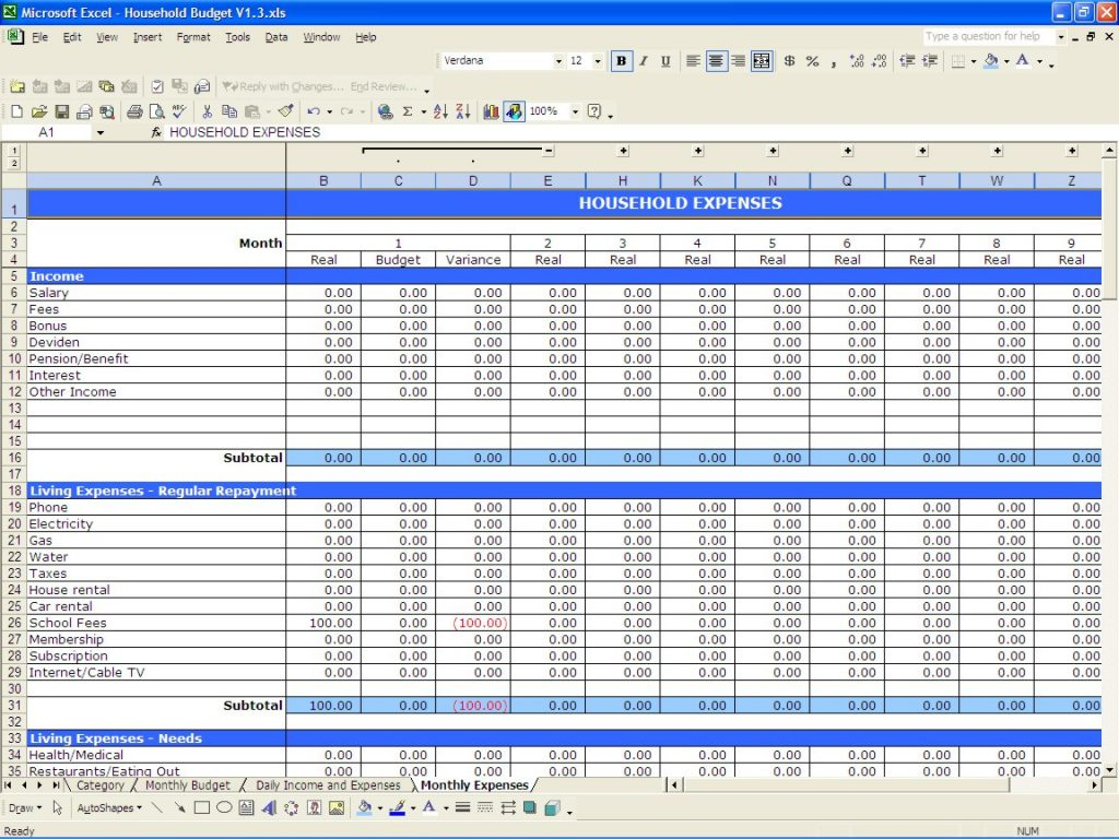 House Budget Spreadsheet For Sample Business Monthly