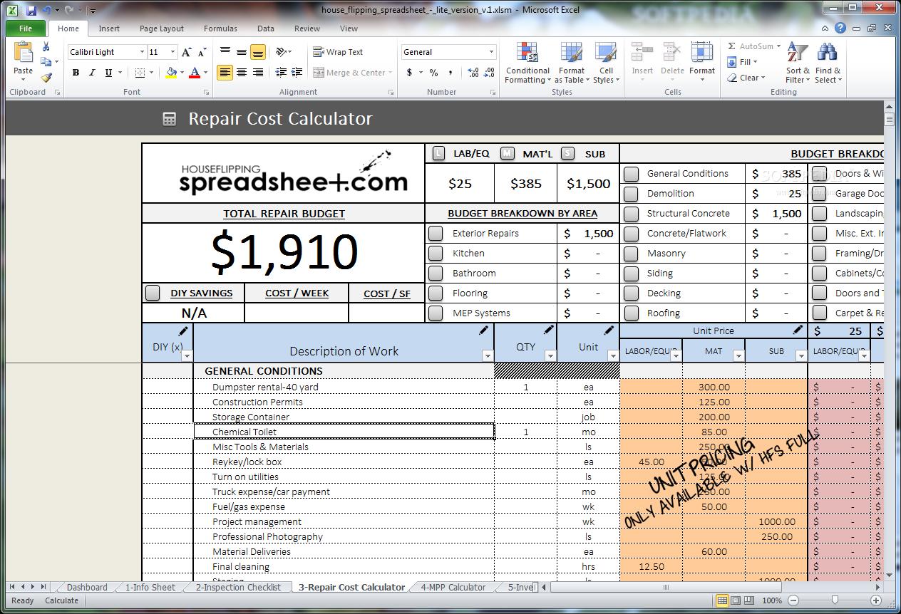 House Flip Spreadsheet Worksheet For Download House