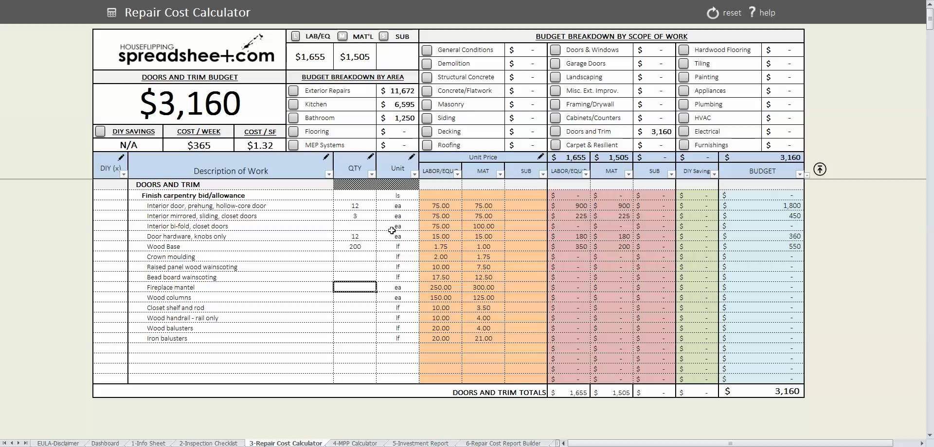 House Flipping Spreadsheet Coupon Throughout House