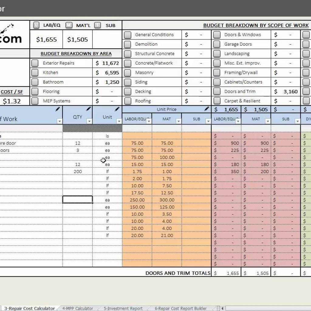 House Flipping Spreadsheet Xls Pertaining To House