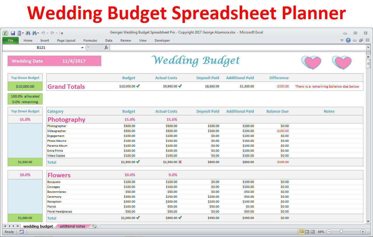 How To Budget For A Wedding Spreadsheet Spreadshee