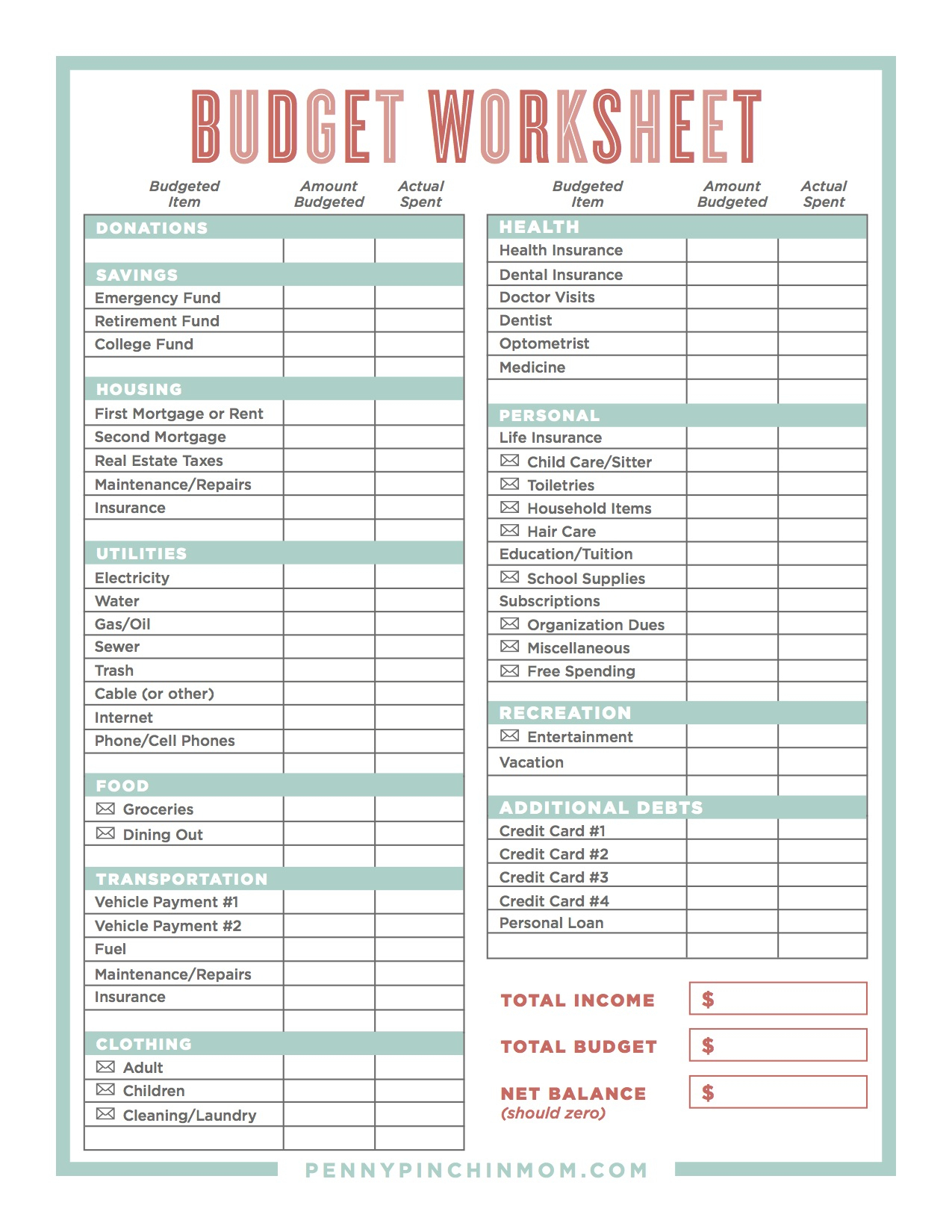 How To Create A Household Budget Spreadsheet Db Excel