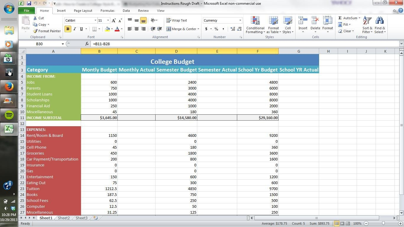 How To Make A Spending Spreadsheet Inside Learn How To