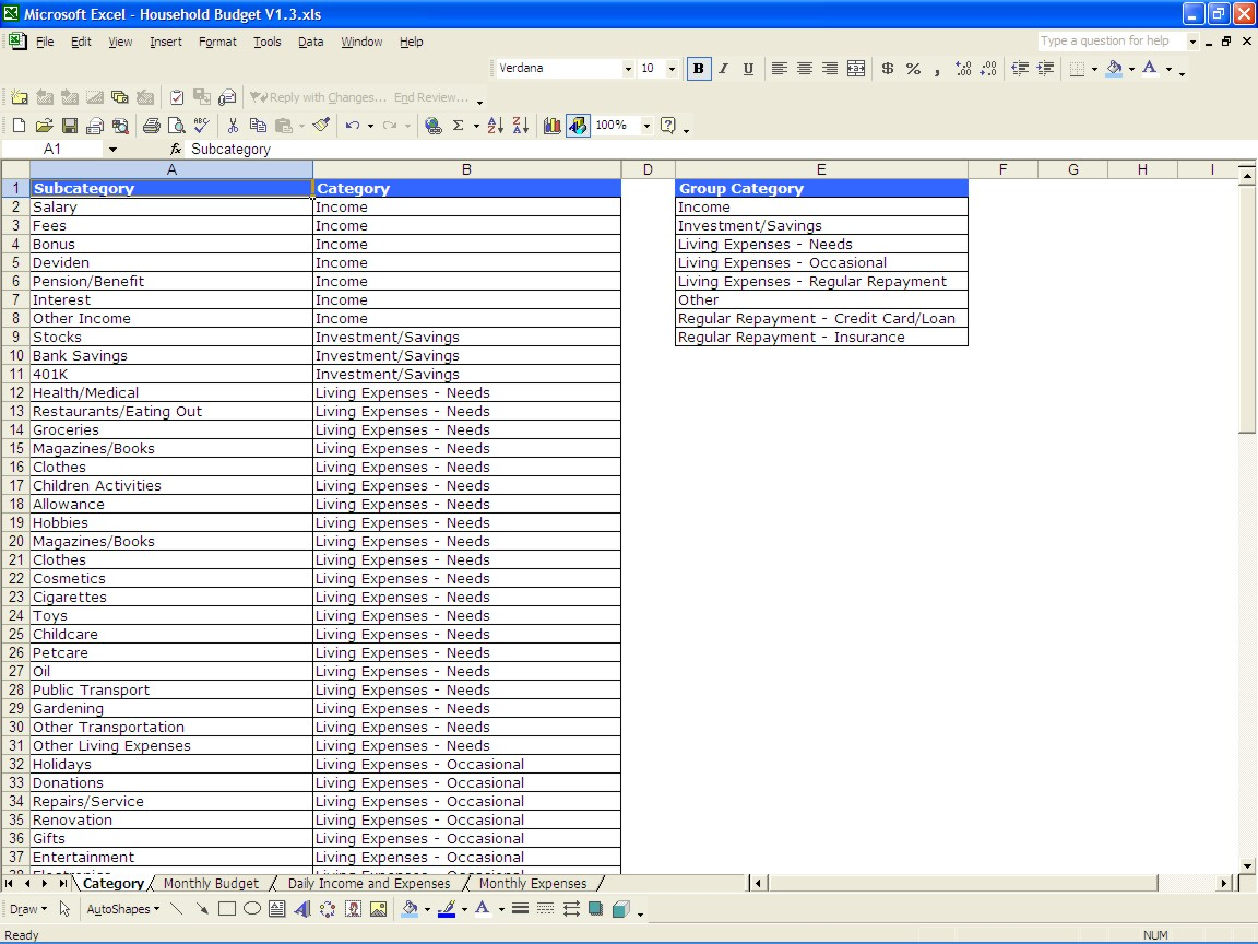 How To Set Up A Household Budget Spreadsheet With Regard