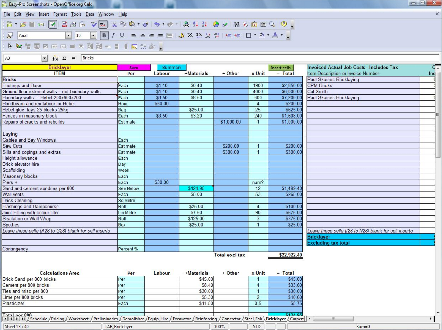 Labor And Material Cost Spreadsheet Db Excel
