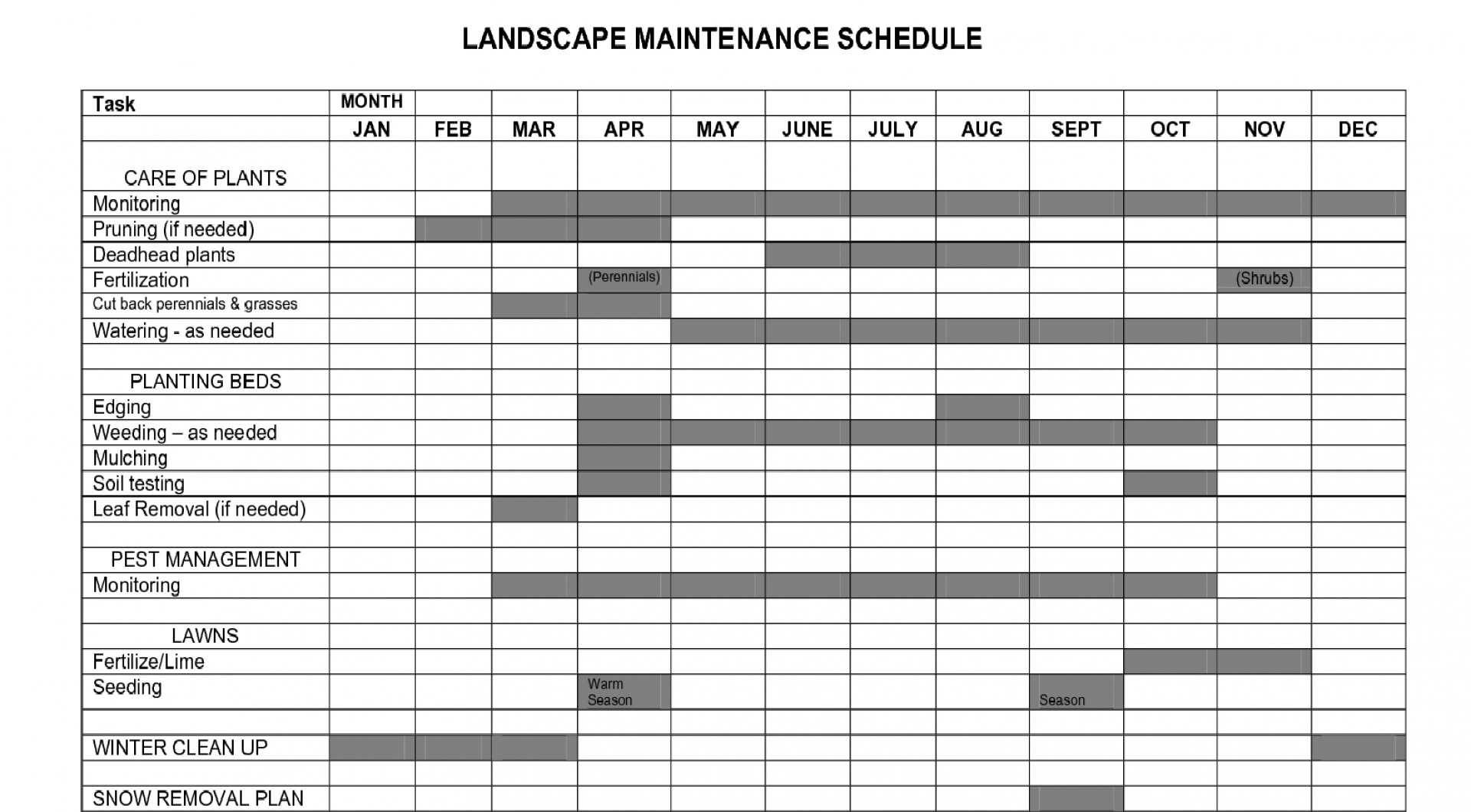 Lawn Care Schedule Spreadsheet Db Excel