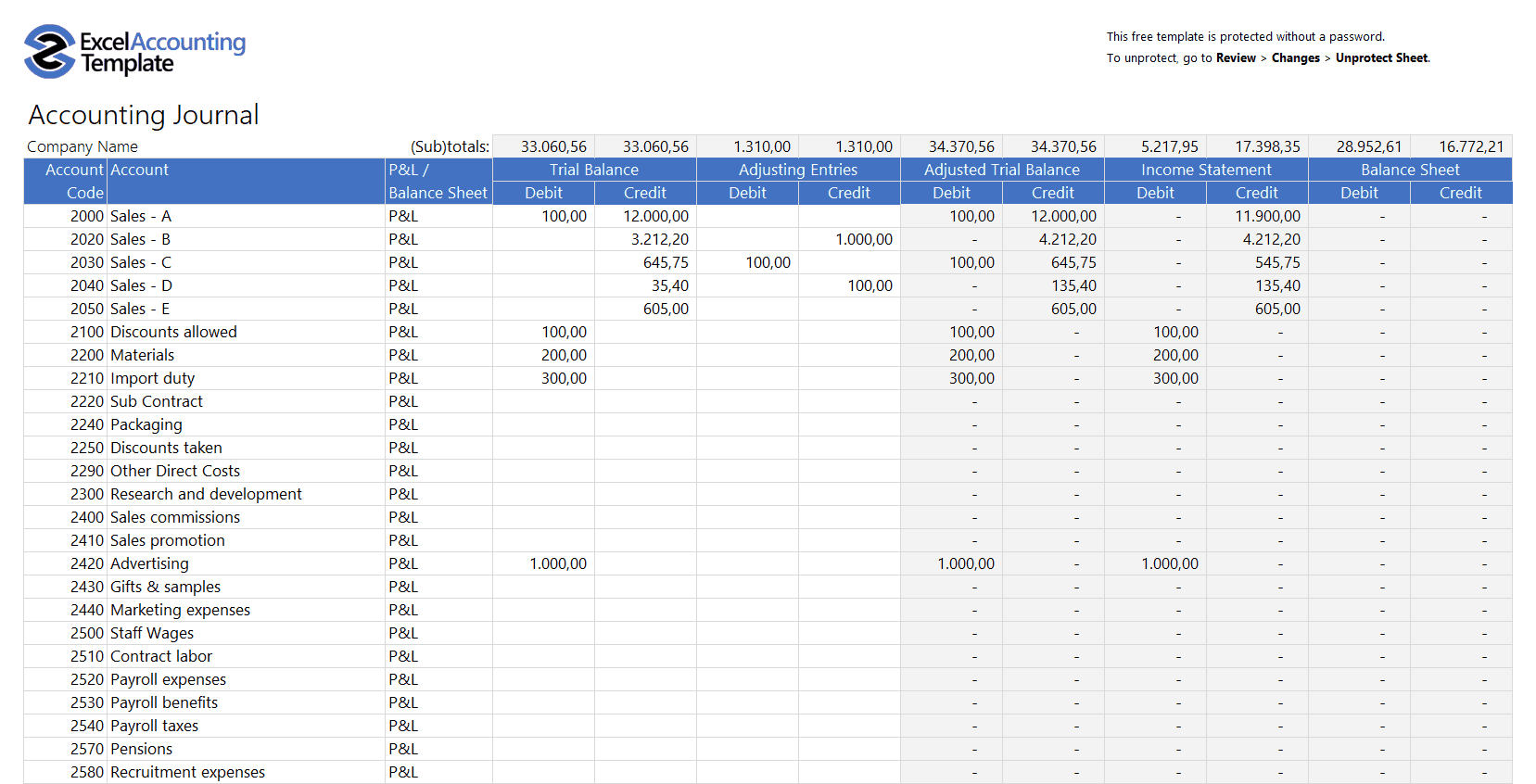 Limited Company Expenses Spreadsheet