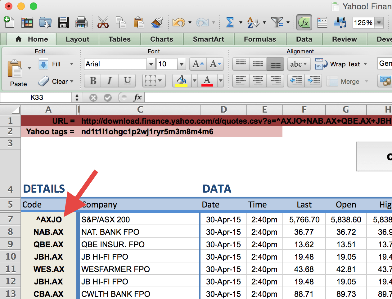 Live Excel Spreadsheet In How To Import Share Price Data