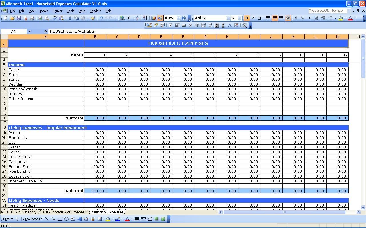 Living Expenses Spreadsheet Spreadsheet Downloa Cost Of