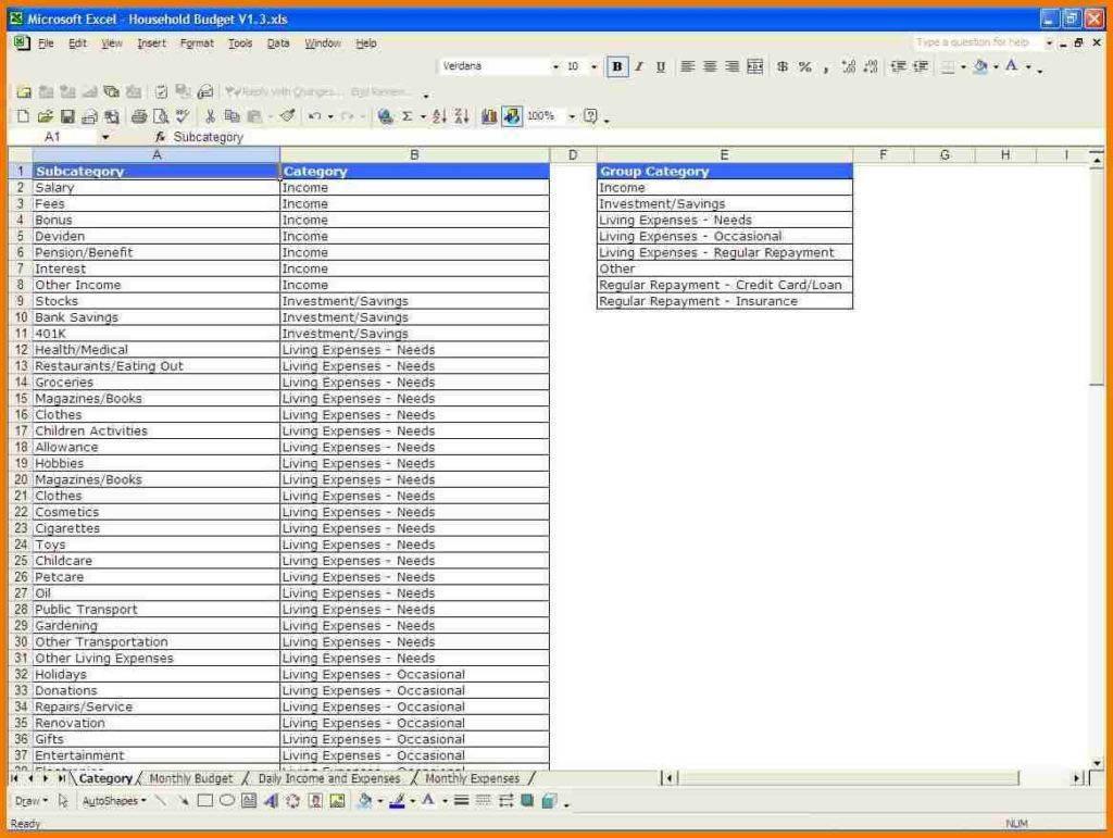 Living Expenses Spreadsheet Pertaining To Expenses Sheet