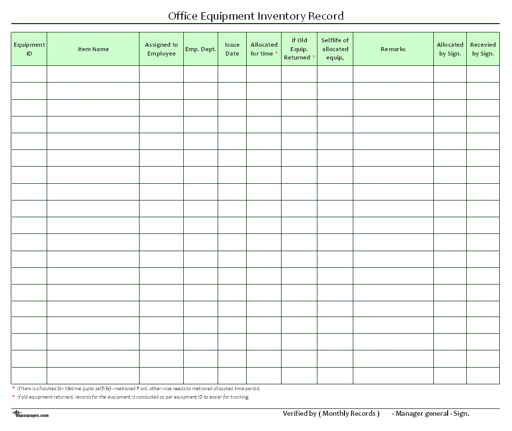 Maintenance Inventory Spreadsheet In Sheetory Example