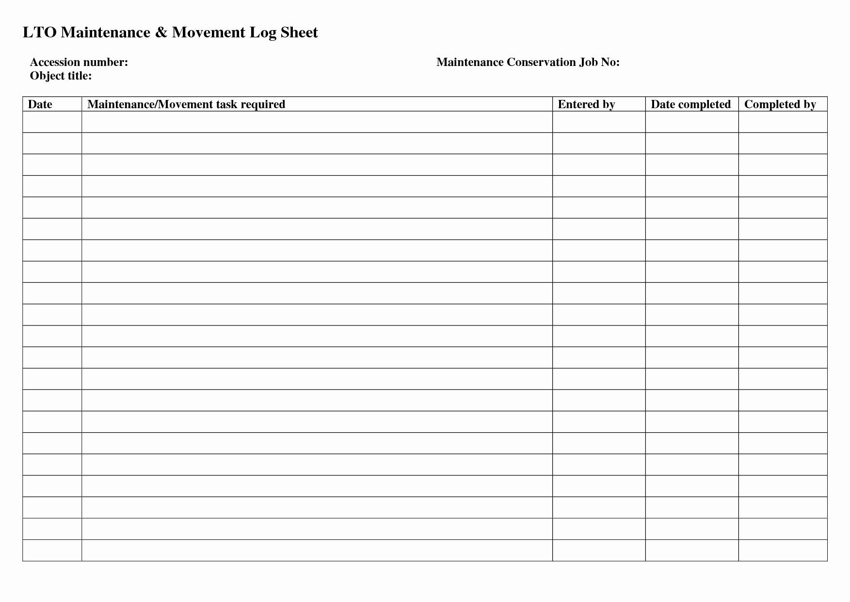 Maintenance Log Spreadsheet Within Auto Maintenance