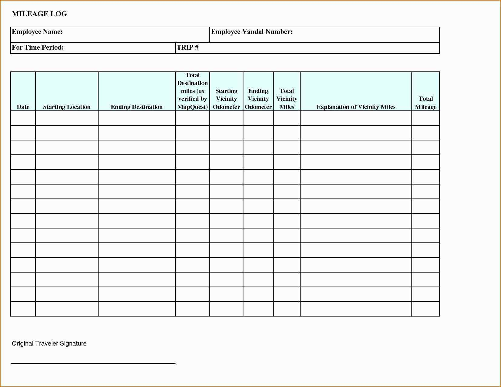Gas Reimbursement Worksheet