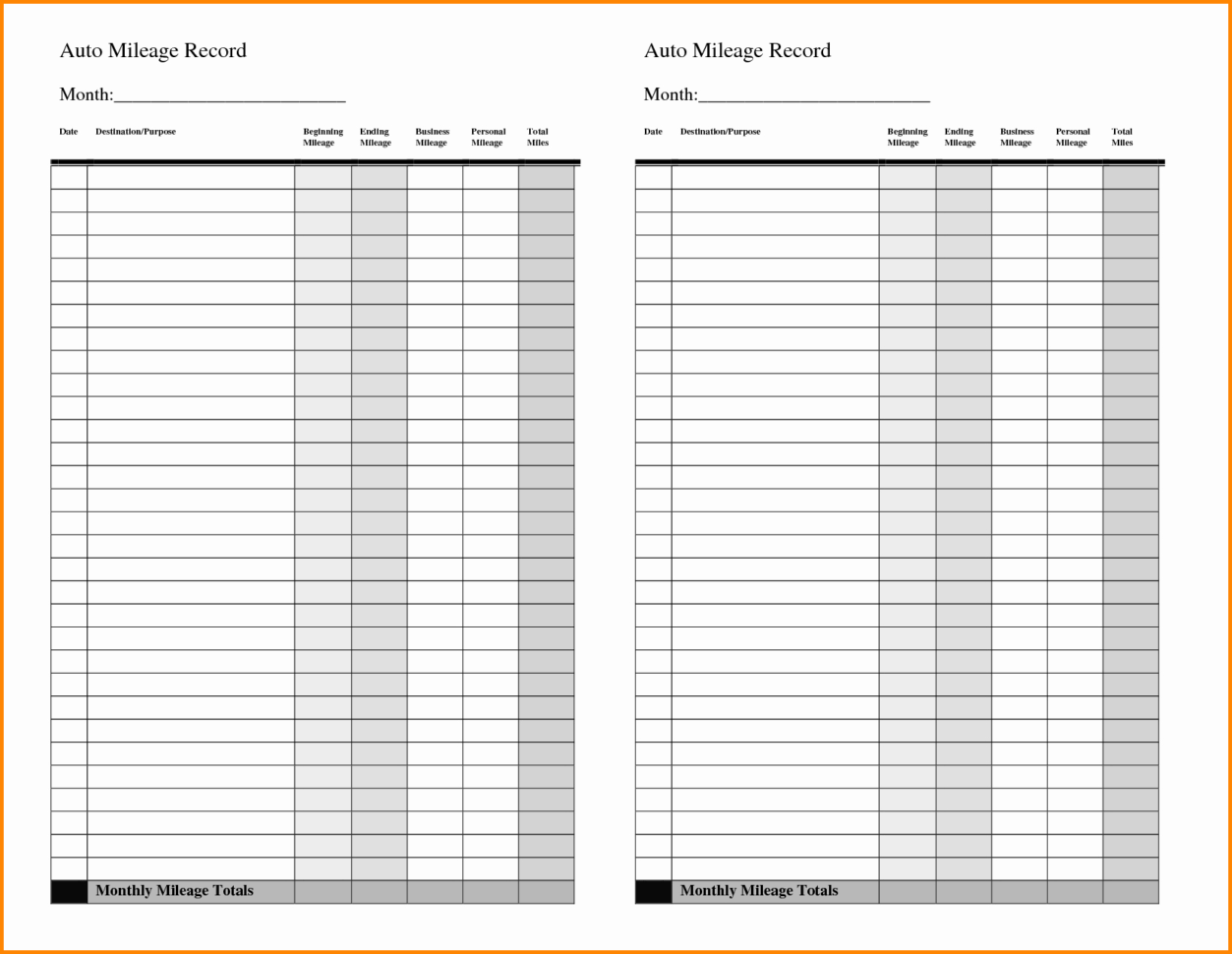 Mileage Spreadsheet In Gas Mileage Spreadsheet Of Business Mileage Claim Form Template And