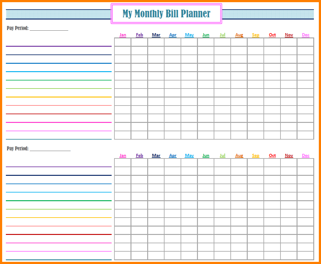 Monthly Payment Spreadsheet Throughout Bill Payment