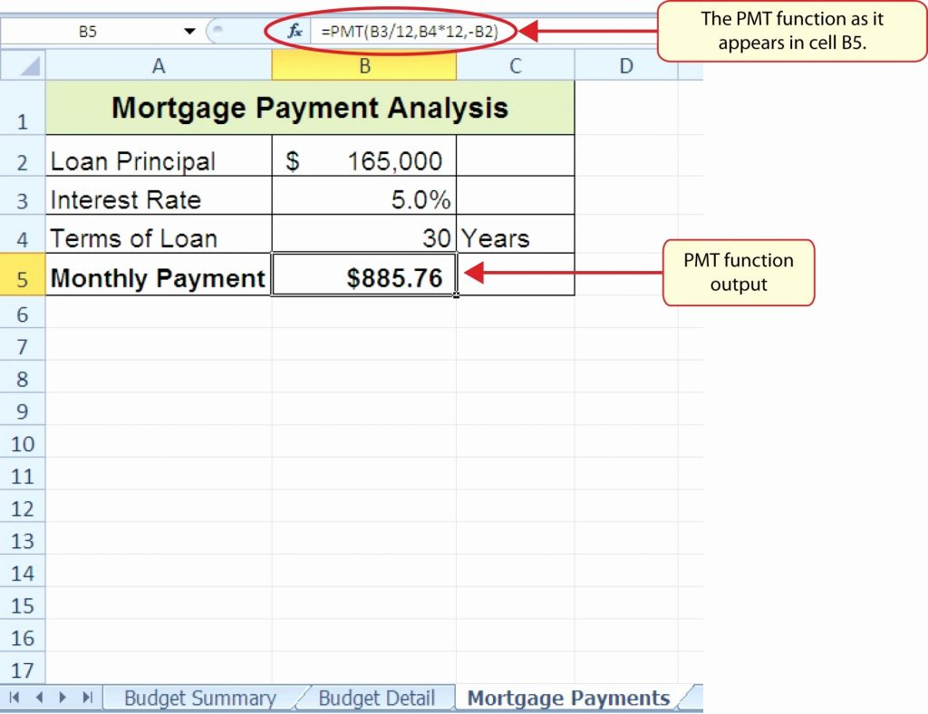 Mortgage Payment Excel Spreadsheet Throughout Mortgage