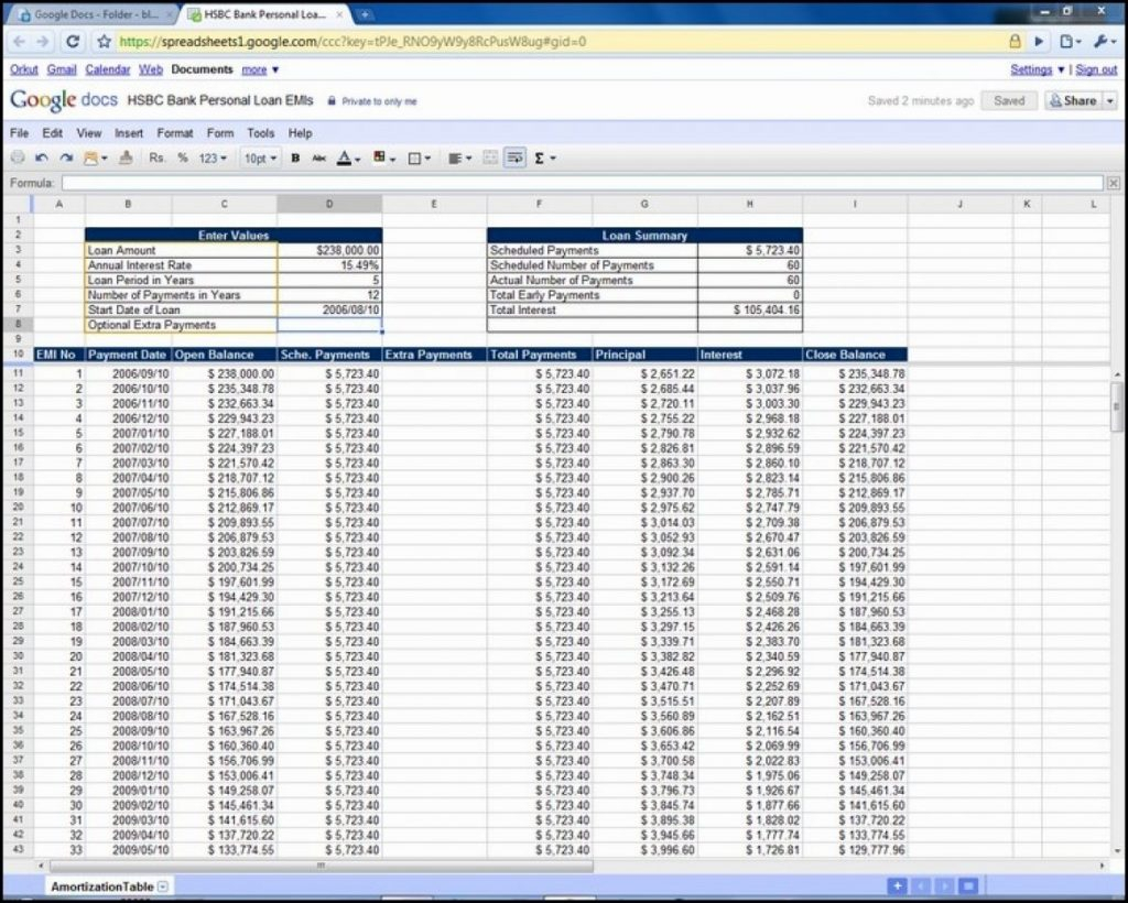 Mortgage Payment Spreadsheet Template Regarding Example Of