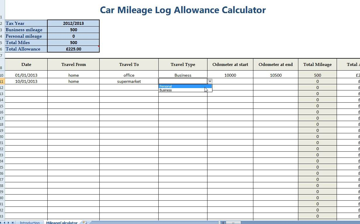Online Mileage Log Spreadsheet