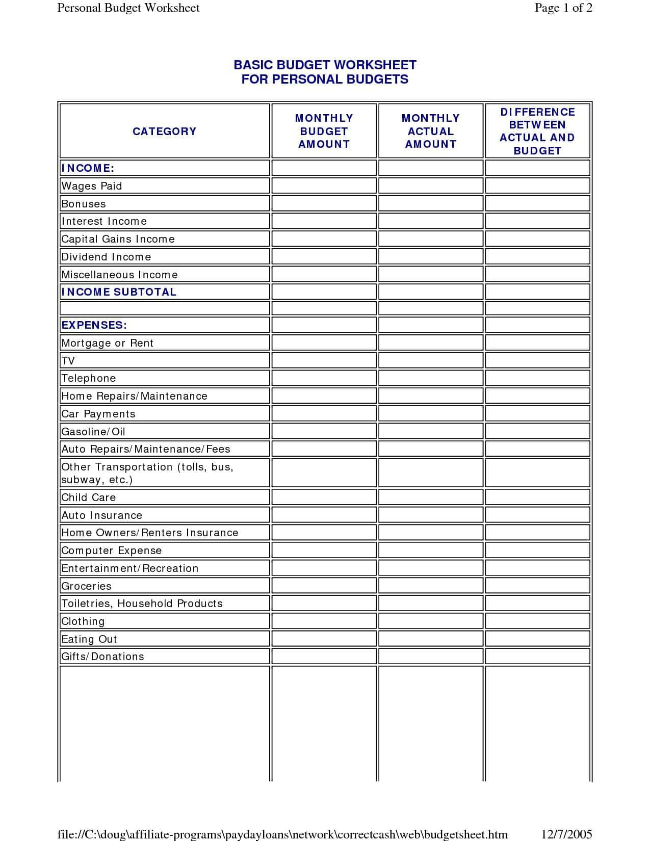 Online Monthly Budget Spreadsheet Pertaining To Online
