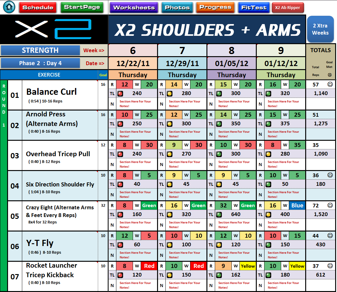 P90x Excel Spreadsheet In Excel Spreadsheet Workout