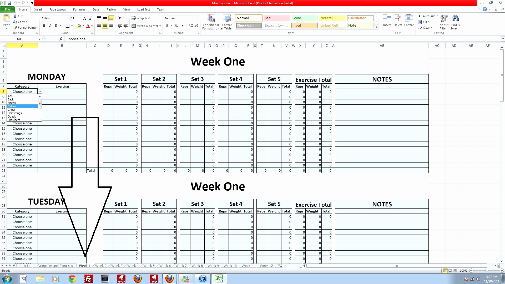 P90x Spreadsheet Docs Spreadshee P90x