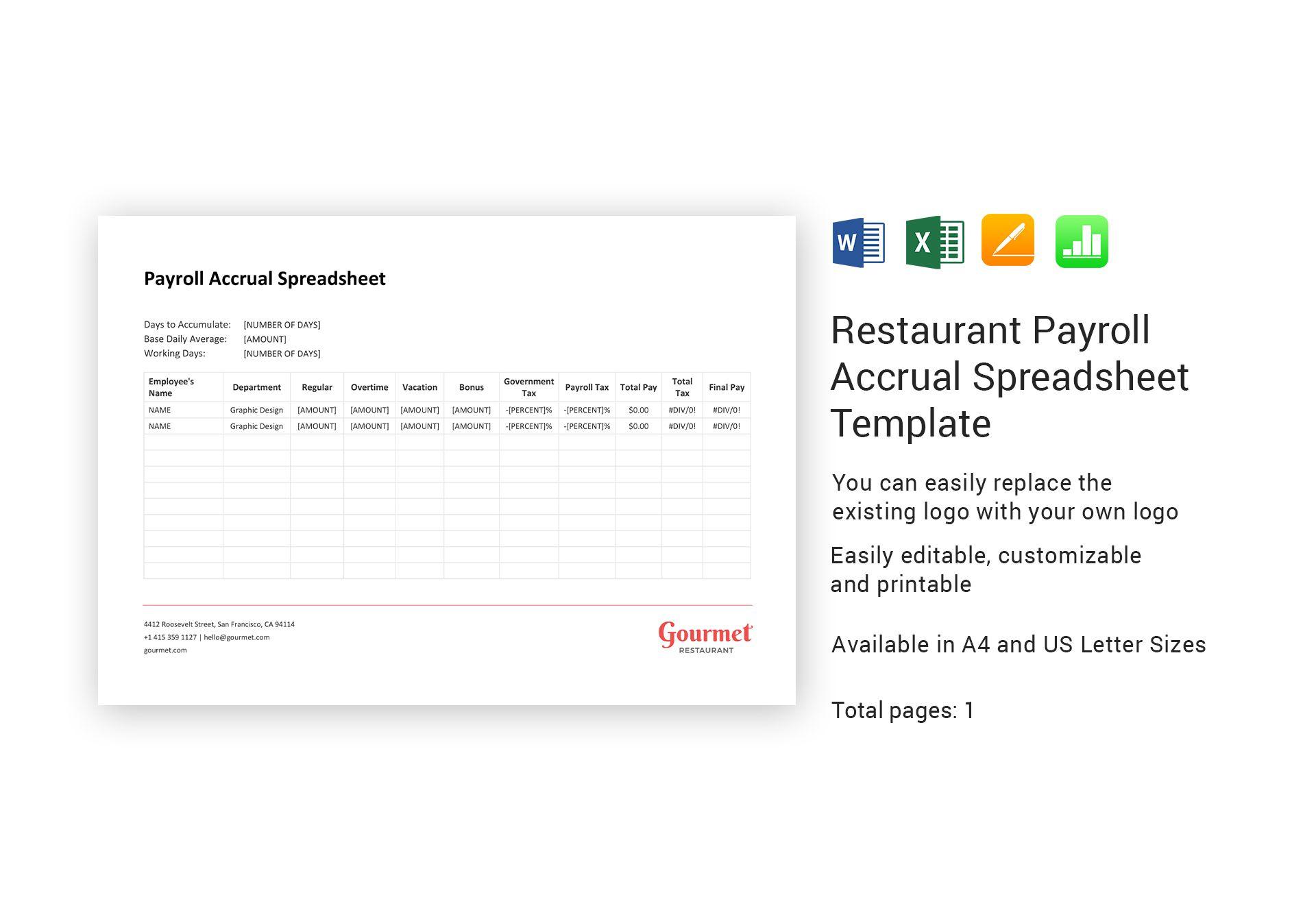Payroll Accrual Spreadsheet 1 Printable Spreadshee Payroll