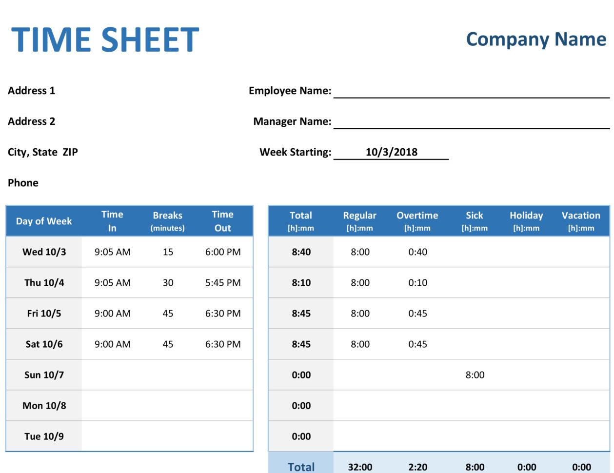 Payroll Spreadsheet Example